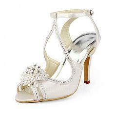 Women's Sandals Stiletto Heel Satin Imitation Pearl Wedding Shoes