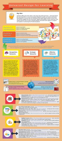 This infographic on the Universal Design for Learning provides a detailed overview of the topic and how it can be implemented in various subjects.