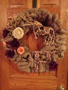 Burlap entryway wreath