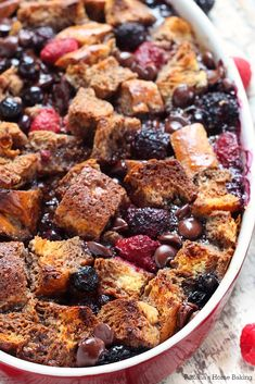 Loaded with chocolate syrup, chocolate chips and fresh berries, this is like no other french toast casserole you've had before! It is pure awesomeness!
