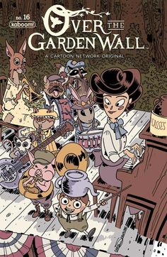 """I'm a big Over the Garden Wall fan, so I was really, really happy to get to do the cover for this month's OTGW comic (on shelves Wednesday! Settled on this for subject since """"Schooltown Follies"""" is my favorite chapter (though picking one is really. Garden Wall Art, Over The Garden Wall, Wall Fans, Cartoon Shows, Animes Wallpapers, Wall Collage, Character Design, Illustration Art, Comics"""