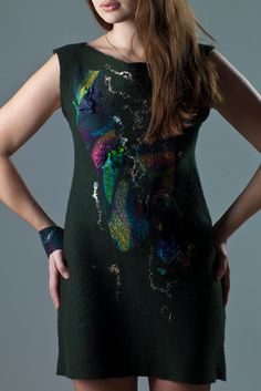 Dark green nuno felted dress ''Mosaic splinters'' by jezek on Etsy, $224.00