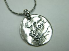 "Sterling Silver necklace engraved ""hope"" flower drawing jewelry"