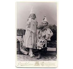 Clown Kids Carnival Costume CDV Photo 1899 Boy Girl Pose   eBay