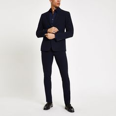 Shop our new Navy super skinny suit jacket at River Island today. Trouser Suits, Trousers, New Mens Suits, Skinny Suits, 3 Piece Suits, Super Skinny, Woven Fabric, Style Guides, Your Style