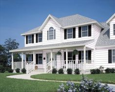 White vinyl siding with black shutters Things my dream house