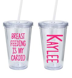 This listing is for one breast feeding is my cardio tumbler. All of our tumblers are high quality 16oz Acrylic Tumblers and are BPA Free, Insulated double wall, and have a screw on lid with rubber gasket and come with a durable plastic reusable straw. If your item is personalzied please