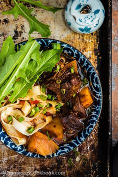 Chinese Beef Noodle Soup (红烧牛肉面) - A very rich noodle soup topped with tender and luscious beef. This recipe shows you how to achieve a truly rich flavor with the fewest steps. | omnivorescookbook.com