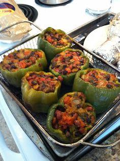 Vegetarian!  Stuffed peppers!  Yummy!