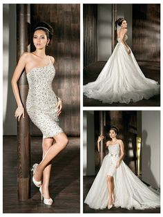 FULLY BEADED FEATURES TULLE ONE-SHOULDER A-LINE 2 IN 1 WEDDING DRESS
