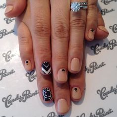 CandypaintLA Nails- Nude and black/white accent nails.