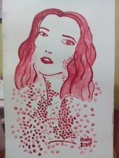 Red acrylic painting
