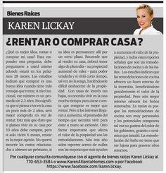 Amigos, los invito a leer mi columna en el distinguido periódico La Visión. Esta semana estaremos hablando acerca de la decisión entre rentar o comprar su casa. Disfruten!