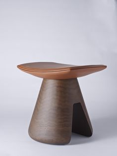 Christophe Delcourt-Mat Stool Launching for NYC x Design in May 2015  The bases are made of French walnut and the seat is leather.
