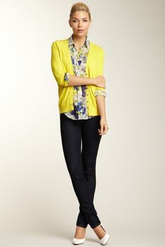 yellow cardigan + blue print shirt