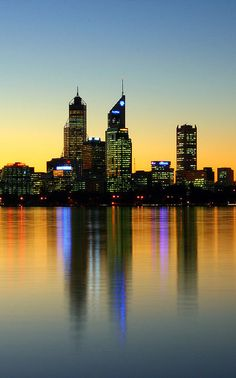 View across the Swan Riverr to the city of Perth Australia