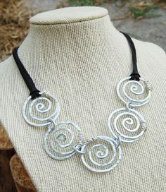 Spiral Link Necklace, Silver, Aluminum Wire, Wire Jewelry