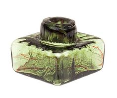 Glass molded Inkwell.  America, 1825-45.  I collect inkwells. This one's a beaut.                                              ****