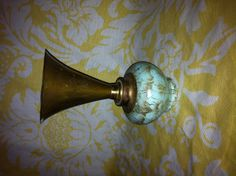 ART DECO Antique DELFT and brass Trumpet vase made in Holland Hollywood regency