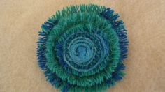 Harris Tweed Turquoise and Blue Brooch