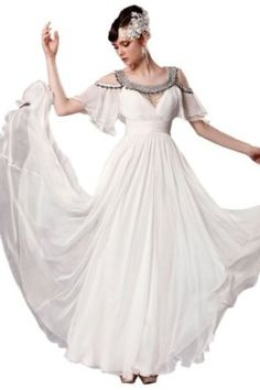 Orifashion Womens Long White Empire A-line Evening Dress:Price: $489.00 - This beautiful evening dress is made of chiffon, with scoop neck and cold shoulder straps. This is an attractive trendy style, perfect for any special occasion or prom. #GraffitiLensApparel