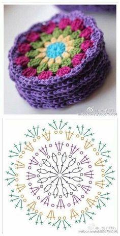 Transcendent Crochet a Solid Granny Square Ideas. Inconceivable Crochet a Solid Granny Square Ideas. Motif Mandala Crochet, Crochet Coaster Pattern, Crochet Circles, Crochet Blocks, Crochet Diagram, Crochet Chart, Crochet Squares, Love Crochet, Crochet Doilies