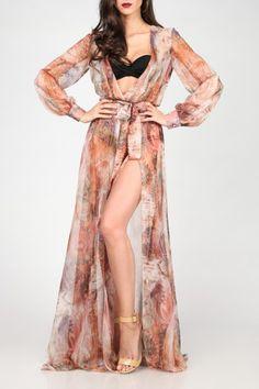 JOINS MAXI SEMI-SHEER BEACH PRINT DRESS