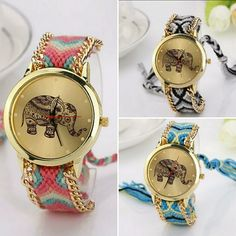 Festival Fancy! Elephant tribal watches Three gold faced watches with a gentle purple elephant are a mystical mixture of tribal meets hippy meets your favorite summer festival...  All have gold face and chain trimmed sides with adjustable embroidered bands.   New in package. boutique Accessories Watches