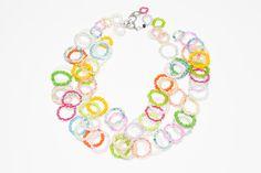 Der Frühling ist zartbunt! Verschiedene pastellfarbene Glasperlenkettchen sind zu einem Frühlingscollier arrangiert, das Sie zum Hingucker macht.  www.langani.com  #langani #collier #necklace #kette #schmuck #jewelry #pearls #spring #newcollection #colourful