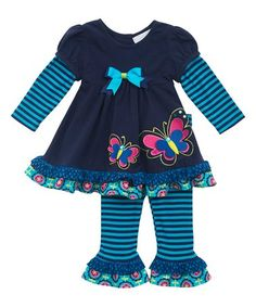 Navy & Turquoise Butterfly Top & Ruffle Leggings - Infant #zulily #zulilyfinds