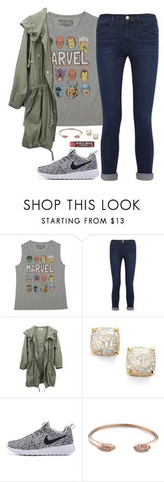 """Who's your favorite Marvel superhero? Mine is Spider-Man"" by amberfmillard-1 ❤ liked on Polyvore featuring Marvel, Frame, Kate Spade, Kendra Scott and Burt's Bees"