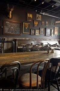 The frames on the wall is something we wanted to have in Sandy& Mismatching sizes and frames add to the comforting and local feel is part of Pub interior - Pub Design, Restaurant Design, Modern Restaurant, Smith Restaurant, Oriental Restaurant, Cafe Bar, Bar Deco, Pub Table Sets, Tap Room