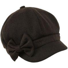 Ladies Winter Fall 6 Panel Newsboy Gatsby Cabbie Driver Ribbon Bow Cap Hat Black $12.95