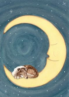 Shetland sheepdog sheltie sleeping on the moon por watercolorqueen