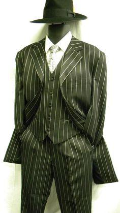 Zoot Suits by Denzel Mens Black White Stripe Zoot Suit M282