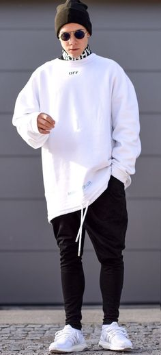 some salt, some pepper, and the fit is ready today im wearing a white oversized sweater by neck shirt by drop crotch pants by sunglasses by and shoes by good day everyone 👌 Komplette Outfits, Sport Outfits, Fashion Outfits, Fashion Ideas, Fashion Mode, Sport Fashion, Style Fashion, Fashion Check, Trendy Fashion