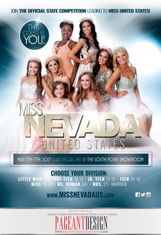We are thrilled to be a part of the MISS NEVADA UNITED STATES family as the official graphic design sponsors for the second year!  Check out this brand new flyer we designed to promote the new season. Registration for the 2017 pageants is officially NOW OPEN! 7 Division in total to choose from! Big thanks to Director Tanice Smith for the opportunity to be a part of her team! For much more info on the event, and to sign up, please visit: http://www.missnevadaus.com #PageantDesign