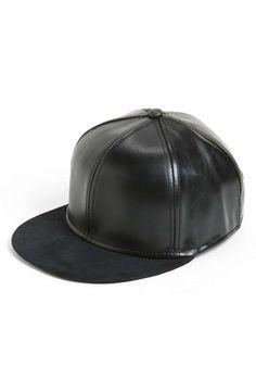 Topman Snapback Faux Leather Cap