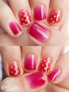 Pink gradient jelly nails with perfect yellow polka dots, from little-nails.