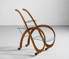 For Sale on - Lovely designed liquor trolley, Italy Very well executed, in the style of Carlo Mollino. The main frame is gently shaped in curved beechwood, with Antique Furniture, Modern Furniture, Furniture Design, Serving Trolley, Bar Unit, White Gloves, Woody, Fashion Art, Liquor