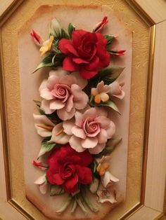 Discover thousands of images about Orginal Capodimonte,Italy,Napoli Polymer Clay Flowers, Ceramic Flowers, Polymer Clay Art, Clay Crafts, Diy And Crafts, Clay Wall Art, Scale Art, Sculpture Clay, Mural Art