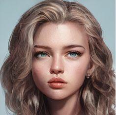 Digital Art Anime, Digital Art Girl, Digital Portrait, Cartoon Girl Drawing, Girl Cartoon, Aesthetic Drawing, Aesthetic Art, Girl Face, Woman Face