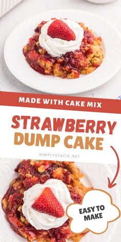 Strawberry Dump Cake - Cake mix, strawberry pie filling, butter and a little sugar is all you'll need to make the BEST dump cake recipe ever! Minimal prep with loads of sweet strawberry flavor.