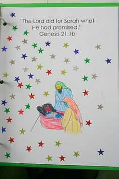 Bible Activity Page; Abraham and Sarah: create bible verse blank page, cut and paste Sarah/Abraham image via link, stars from dollar store Bible Stories For Kids, Bible Story Crafts, Bible Crafts For Kids, Preschool Bible, Bible Lessons For Kids, Bible Activities, Church Activities, Kids Bible, Preschool Crafts