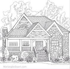 This is one of a series I did for an adult coloring book of hou. House Colouring Pages, Quote Coloring Pages, Cat Coloring Page, Adult Coloring Book Pages, Printable Adult Coloring Pages, Coloring Sheets, Coloring Books, Detailed Coloring Pages, House Drawing