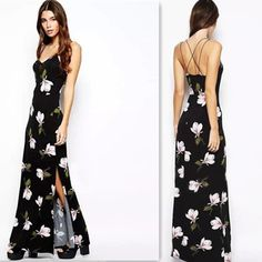 e697d21ea47 2015 Fashion Summer Women s Sexy Spaghetti Straps Floral Maxi Beach Long  Sundress Backless Dresses Free Shipping