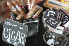 Have a Cigar and wine pairing party. Let guests Pick from a few different flavors( just make Sure not to give the newbies something too strong ).