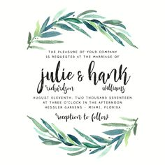 Foliage Wedding Invitation // Modern Calligraphy, Brush Script Font, Simple and Modern