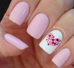 Dotted Heart white pink Nails - Uñas corazón de puntos, blanco y rosado
