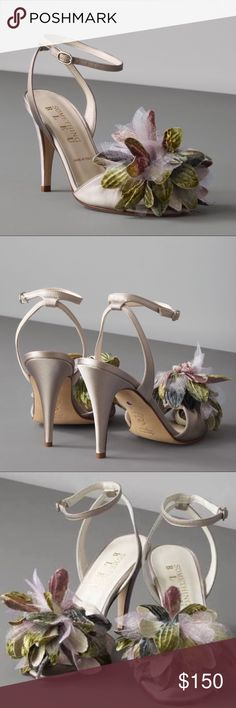 """Agave Peep-Toe Something Bleu for BHLDN New! Agave Peep-Toe Something Bleu for BHLDN ANTHROPOLOGIE Made in Italy MSRP: $350 Fronds of velvet and silk organza puff from this Something Bleu pair. Adjustable buckle. Silk upper; leather sole. 3.75"""" heel. Handmade in Italy. Color exclusive to BHLDN Style #19665736 Size: 6.5 Brand new without Box Anthropologie Shoes Heels"""